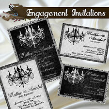 Personalised Engagement Invitations - Chandelier Silhouette Elegant Lace