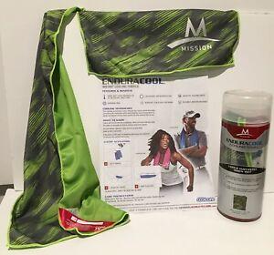 "MISSION~ENDURACOOL Microfiber Cooling Towel 12""x33"" Slash green/gray NIB     (m1"