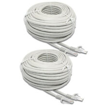 2 x100ft RJ45-RJ45 Cat5 Ethernet Network White Cable for Router PC Modern PSP