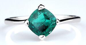 1.42Ct Cushion Cut Natural Zambian Green Emerald Anniversary Ring In 925 Silver