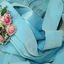 "1y VTG 1.5"" LTG BABY BLUE SWISS RAYON SATIN BACK VELVET RIBBON TRIM FRENCH DOLL"