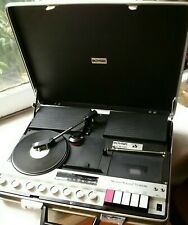 Bohsei Stereo Sound System 6100 Self Contained Briefcase Cas/Rad Working, No Lp