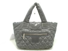 Auth CHANEL Coco Cocoon PM Gray Nylon Tote Bag