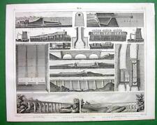 CANALS & AQUEDUCTS Languedoc Croton Cesse - SUPERB 1844  Engraving Print