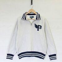 Vintage Polo Ralph Lauren P Wing 1/4 Zip Sweatshirt Heather Gray Size Large
