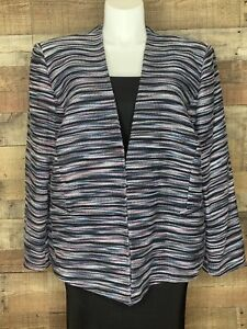 Tahari Womens Suit Jacket Blazer Multicolor Zig Zag Stripes Long Sleeve Plus 22W