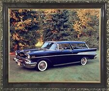 1957 Chevy Nomad Bel Air Vintage Car Wall Decor Mahogany Framed Art Picture
