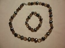 Peacock Cultured Pearl & Smokey Quartz Beaded Necklace & Bracelet Set-925 Silver