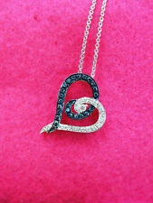Love's Embrace 1/4ct Blue & White Diamond Heart 925 Necklace $329 OFFER WELCOME