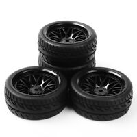 4Pcs 1:10 Rubber Tire 12mm Hex Wheel Rims Set For On Road Car Flat Racing HSP RC