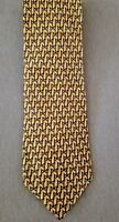 Authentic Burberry Silk Tie, Gold w/Pattern, Made in Italy