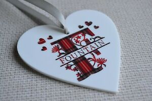 Personalised heart shaped Monogram plaque Christmas Decoration
