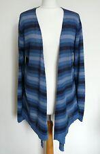 EAST Blue Stripe Linen Waterfall Cardigan Size 14