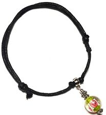 GREEN BEAD ANKLE BRACELET black cord anklet silver foot charm gypsy hippy surfer