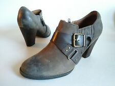 INDIGO CLARKS Block Heel Buckle Booties Distressed Brown Leather Womens Size 9 M