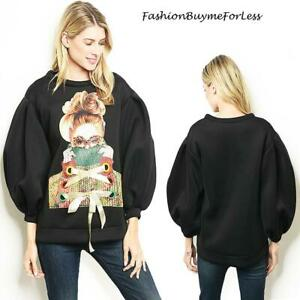 Retro Haute BOHO Black Scuba Ponte Balloon Sleeve Oversized Sweater Top S M L XL