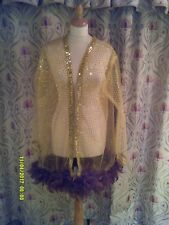 Drag Queen/Cabaret SHORT net Gold/sequin coat with brown feathers 20/22