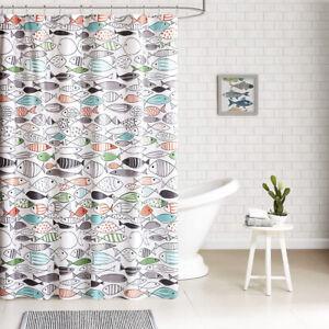 EG_ 72x72inch Multicolor Fish Print Waterproof Bath Shower Curtain Bathroom Deco