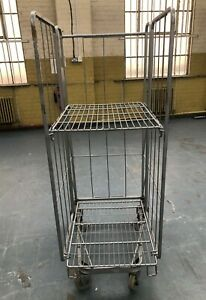 Warehouse Roll Cage - Stock Trolley - Storage - Three Sided with folding shelf