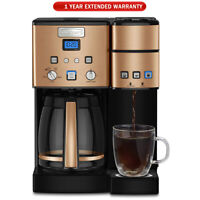 Cuisinart 12 Cup Coffeemaker and Single Serve Brewer Copper + Extended Warranty