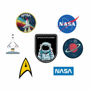 Set of 7 Iron on DIY Screen print Astronaut Cosmonaut pilot Space Explorer patch