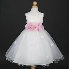 New Ivory Butterfly Petals Easter Pageant Infant Wedding Flower Girl Dress