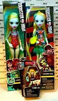 "Lot of 2 Monster High 12"" Lagoona Blue Dolls & Mega Blok Lagoona Series 3 Figure"