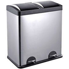 Dual Compartment Tall Trash Can and Recycling Bin with Lid 16-Gallon Capacity