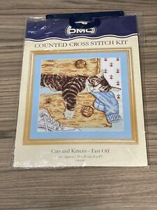 Cats and Kitten - Fast Off DMC Counted Cross Stitch Kit K4180