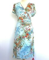 NWT Joe Browns Dress Crossover Bodice Blue Side Ruched Floral Tea Plus Size 18