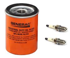 Generac OEM Oil Filter 070185E (070185ES) & 2 Spark Plugs for 496018T RC14YC Kit