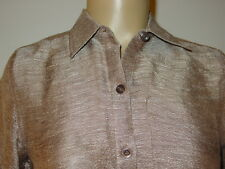 Coldwater Creek brown silver marble gauze top blouse silk linen-PXS-NWT-$59.50