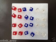 The Cube Swarovski Crystal Bling Handmade Stud Earrings Mix Colors 12 Pairs A49