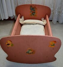 ANTIQUE DOLL CRADLE WITH ORIGINAL TICKING FEATHER MATTRESS AND PILLOW RARE FIND
