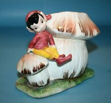 """Mid Century Vtg Lefton Elf Pixie with Mushroom 5"""" Toadstool House Planter Japan"""