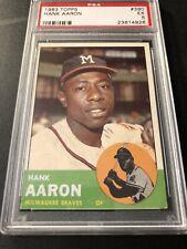 1963 Topps Hank Arron Psa 5 No Snow - Sharp !bright Yellow Back !lowest On eBay