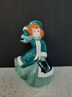 "Vintage  Atlantic Mold Hand Painted Ceramic Girl Christmas Caroler 8 1/2"""