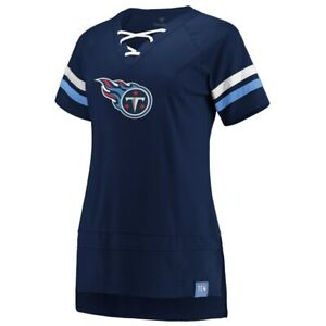 Tennessee Titans Fanatics Branded Women's Lace Up T-Shirt -Navy/Light Blue NWT