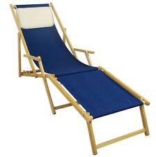 Fauteuil de Plage Bleu Chaise Longue Terrasse en Bois Hêtre Partie Pied Coussin