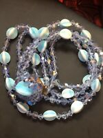 Ocean Blue Givre Glass AB Crystal Beaded Designer Vintage Double Strand Necklace