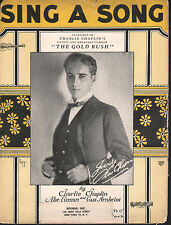 Sing A Song 1925 Charlie Chaplin The Gold Rush Sheet Music