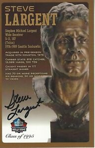 Steve Largent Seattle Seahawks  Football Hall Of Fame Autographed Bust Card