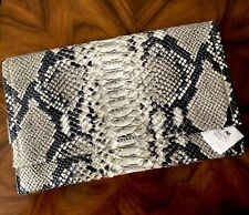 NWT Coach Bleecker Shades of Gray Embossed Snake Leather Flap Front Clutch $398