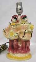 "Vintage Shawnee Asian Couple Lamp Beautiful Pink and Yellow 9"" Tall"