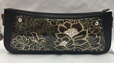 Debbie Brooks Slim Black Leather Interchangeable Strap Handbag Gem Gold Flower