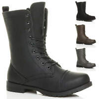 WOMENS LADIES LOW HEEL LACE UP ZIP ARMY COMBAT BIKER MILITARY ANKLE BOOTS SIZE