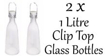 Glass Bottle With Clip Top 1 Litre SET OF 2 Bottles Brand New With Tags