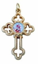 Gold Toned Base Budded Cross Pendant with Saint Michael Icon Center, 1 1/2 Inch