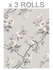Grey Birds Wallpaper Floral Flower Chinoiserie Heavyweight Fine Decor x 3 Rolls