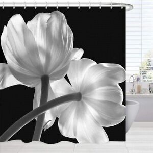Black and White Modern Flower Floral Chic Fabric Shower Curtain